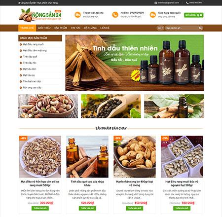 Web mẫu bán nông sản hạt điều