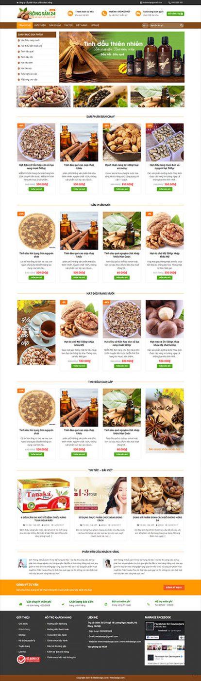 Web mẫu bán nông sản hạt điều trang chủ