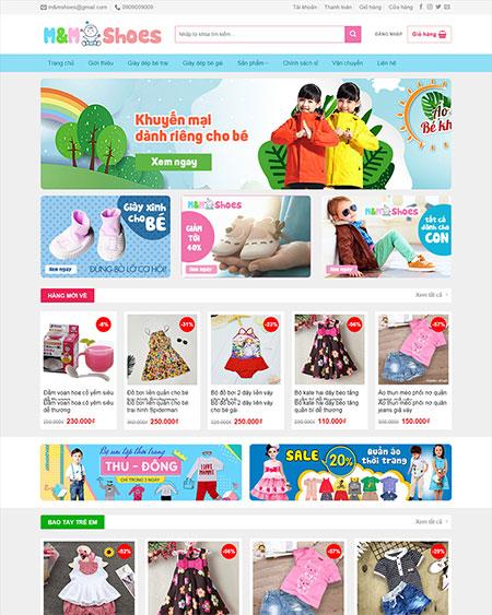 Web shop bán quần áo trẻ em trang chủ