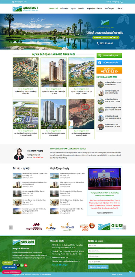 Web giới thiệu dự án bất động sản