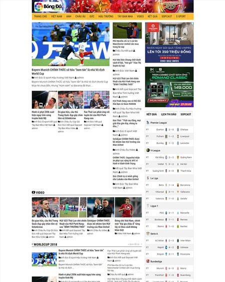 Website tin tức bóng đá